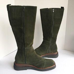 FRYE Forest Green Suede Zipper Knee Tall Boots